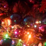 Christmas balls and electric garland. — Stock Photo #60870455