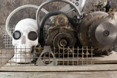 Mechanical skull front view. — Stock Photo