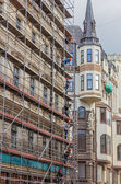 RIGA, LATVIA - JUNE 26, 2014. Reconstruction of building in the  — Stock Photo