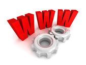 Www red symbol with cogwheel gears — Stock Photo