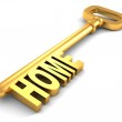Golden key with text HOME — Stock Photo #53216861