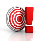 Red darts target with big exclamation mark — Stock Photo