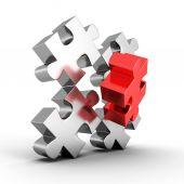 Main part of metallic jigsaw puzzle — Stock Photo