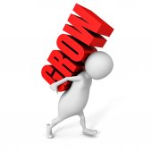 White 3d person holding red GROW word — Stock Photo