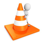 White 3d man with traffic road cones — Stock Photo