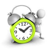 White 3d man with green alarm clock — Stock Photo