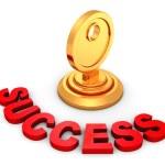 Success golden key in keyhole — Stock Photo #61498379