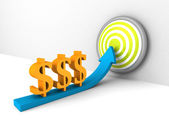 Dollar currency symbols rising arrow to success target — Stock Photo