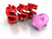 Piggybank with dollar currency symbols. — Stock Photo