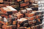 Old Cracked Red Bricks Pile Stacks — Stock Photo