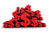 Molti simboli di valuta Dollaro rosso — Foto Stock