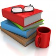Pile Of Books With Mug And Glasses — Stock Photo #79209698