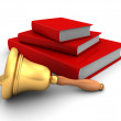 Books Stack With School Handle Bell — Stock Photo #79999058