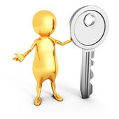 Golden 3d Man With Standing Security Key — Stock Photo