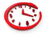 Red Clock Dial With Around Arrow — Stock Photo