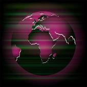 Abstract dark purple background with globe — Vector de stock