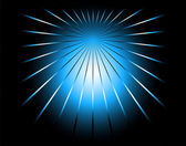 Blue and black color ray background with a burst — Stock vektor