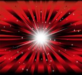 Burst red and black background with ray and star light — Vettoriale Stock