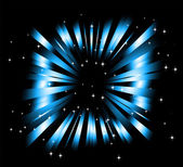 Dark Blue background with ray and star light — Vettoriale Stock