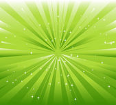 Green background with ray and star light — Vettoriale Stock