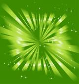 Sparkling stars on green ray background — Vettoriale Stock