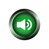 Speaker sound icon button, isolated on green glossy background — Wektor stockowy
