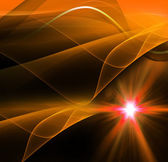 Realistic star burst with flare orange background — Stock Photo