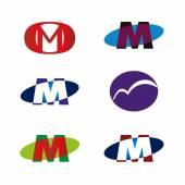 Letter M logo icon template element design — Stock Vector