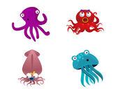 Octopus and cute sea animals vector — Stock Vector
