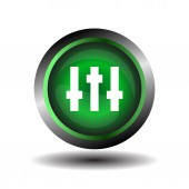 Equalizer green circle icon vector — Stock Vector