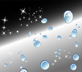 Abstract black background with Water drops and stars — Vector de stock
