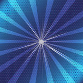 Burst rays blue background with halftone — Vector de stock