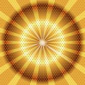 Burst rays golden background with halftone — Vector de stock