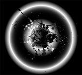 Circle grunge black background — Vector de stock