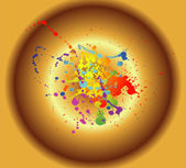 Colored paint splashes isolated on golden background — Vector de stock