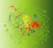 Colored paint splashes isolated on green background — Vector de stock