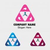 Symbol trójkąt osób grupa i strzałki znak — Wektor stockowy