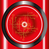 Red technology circle background — Stock Vector