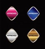 Approved tag button set — Vector de stock