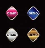 Demo sticker icon vector set — Stock Vector
