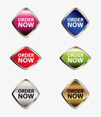 Order now button stickers and labels set — Vector de stock