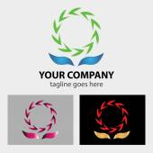 Secycling symbol logo between two hands — Vector de stock
