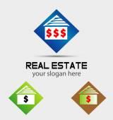 House logos with money dollar sign — Stock Vector