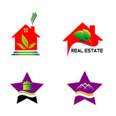 Set isolated house logo real estate sign — Vector de stock