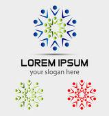 Freunden feiern, Logo, aufgeregt, Teammitglieder, zufriedene Mitarbeiter, zufriedene Kunden — Stockvektor