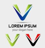 Set of three isolated stylish V symbol graphic elements V logo — Stock Vector