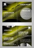 Vector empty bi-fold brochure print template design with blue elements — Stock Vector