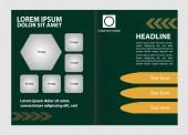 Bi-fold brochure template design with green color — Stock Vector