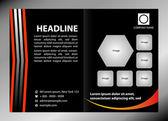 Black bi-fold brochure template design, business leaflet, booklet — Stock Vector