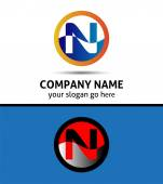 Vector illustration of abstract icons based on the letter N logo — Stock Vector